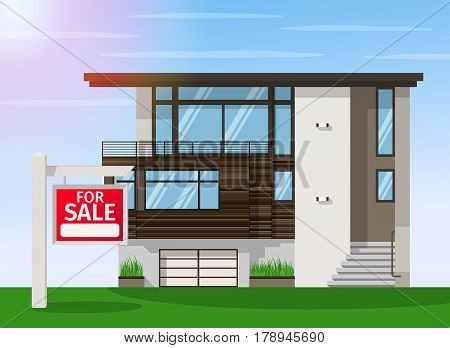 Real Estate for Sale. The house and sign in the foreground with the information. Vector flat design illustration