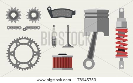 Auto and moto parts in flat style. Vector banner of vehicle maintenance.