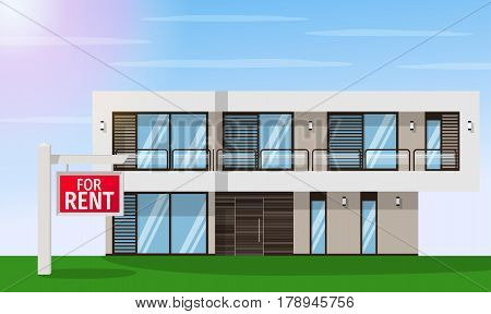 Real Estate for Rent. The house and sign in the foreground with the information. Vector flat design illustration