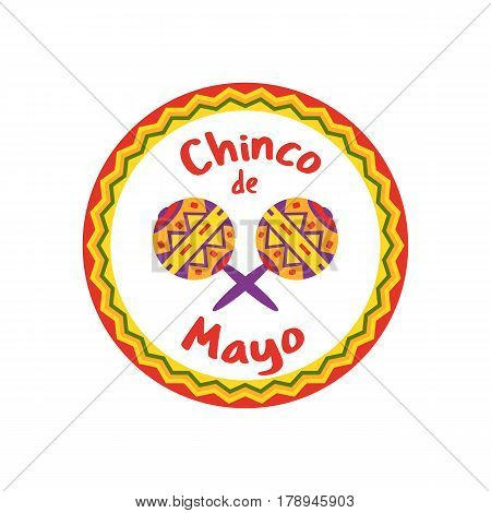Mexican Fiesta holiday Cinco de Mayo. Freehand drawn fancy cartoon style. Decorative round frame badge. Festival celebration traditional symbols of Mexico. Vector element template banner background