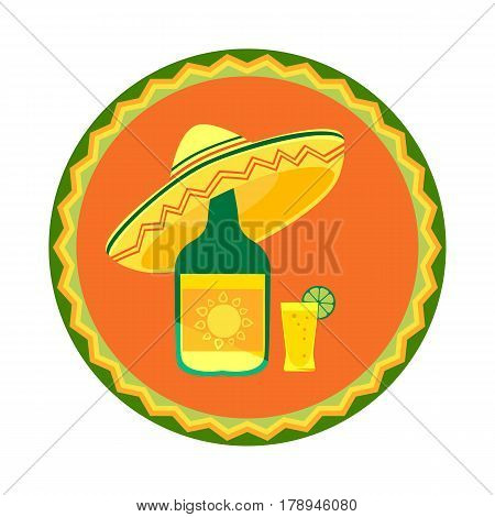 Mexican poster concept. Fancy cartoon style. Round decorative ornate frame. Bottle, shot glass of tequila, lime lemon. Sombrero traditional symbol of Mexico. Vector fiesta badge element background