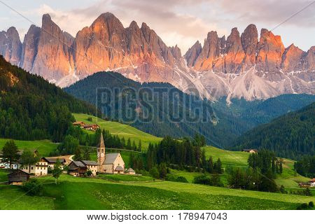 Santa Maddalena village in front of the Geisler or Odle Dolomites Group Val di Funes Val di Funes Trentino Alto Adige Italy Europe.