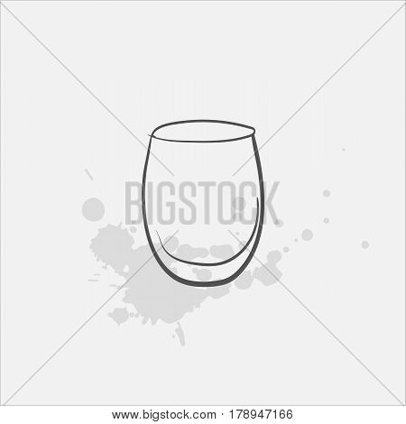 Cocktail glass hand drawn icon - vector illustration