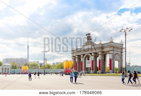 MOSCOW - MAY 8 2016: Main entrance to VDNKh park complex decorated for the WWII victory celebration. This place was developed in soviet times as an Exhibition of Achievements of National Economy.