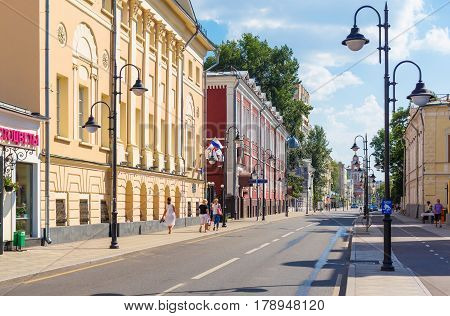 MOSCOW - AUGUST 7 2016: View of Pyatnitskaya street with historical buildings. This area was reconstructed in 2014.