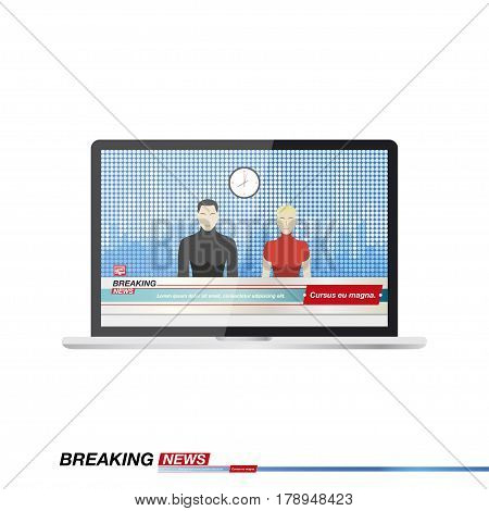 Anchorman's man and a woman in Breaking News In the television studio in laptop. Flat vector illustration EPS10