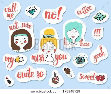 Fashion patch badges. Social networks and mobile stickers set. Pin, patches and handwritten notes collection in cartoon doodle comic style. Girl face, emotions. Vector illustration isolated. Clip art.