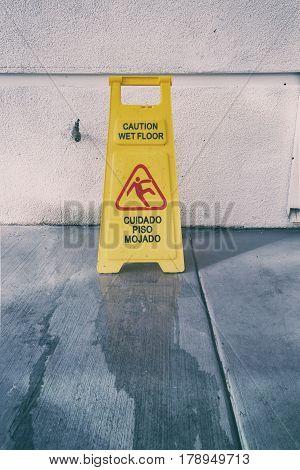 Slippery Floor Surface Warning Sign And Symbol In Building, Hall, Office, Hotel , Restaurant, Restro