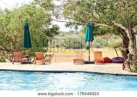 Outdoor swimming pool in luxury hotel in Sri Lanka with wooden deck chairs