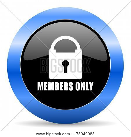 Members only black and blue web design round internet icon with shadow on white background.