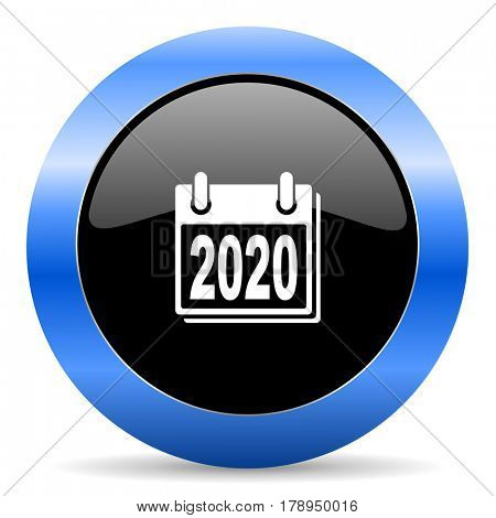 New year 2020 black and blue web design round internet icon with shadow on white background.