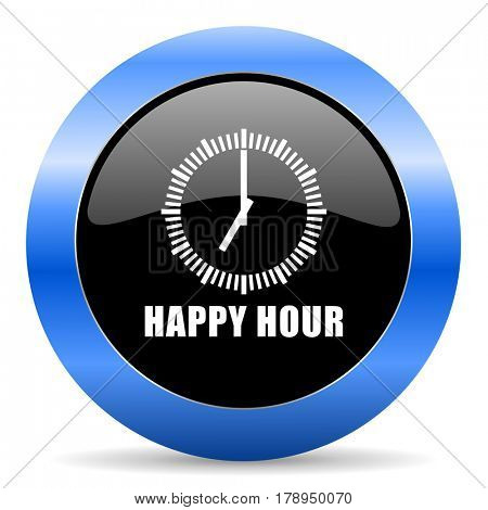 Happy hour black and blue web design round internet icon with shadow on white background.