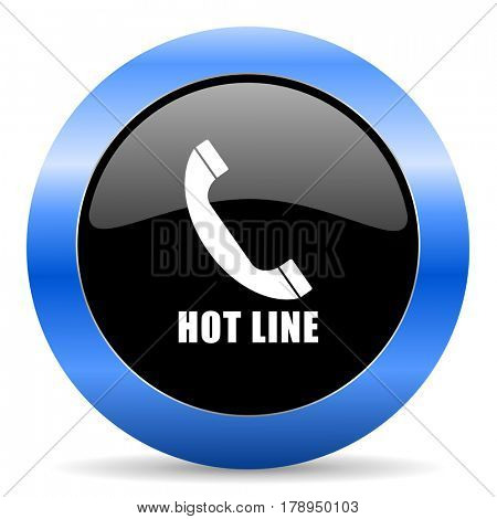 Hotline black and blue web design round internet icon with shadow on white background.