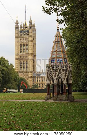 LONDON, GREAT BRITAIN - SEPTEMBER 19, 2014: This is a small cozy public garden next to the Parliament of Great Britain.