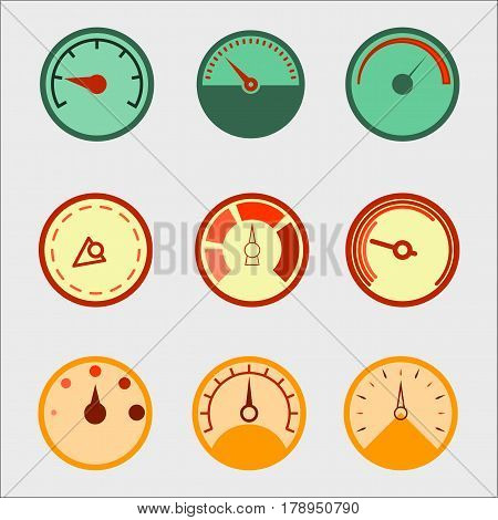 Speedometer panel set, pressure indicator tool. Meter Icon Object. Vector