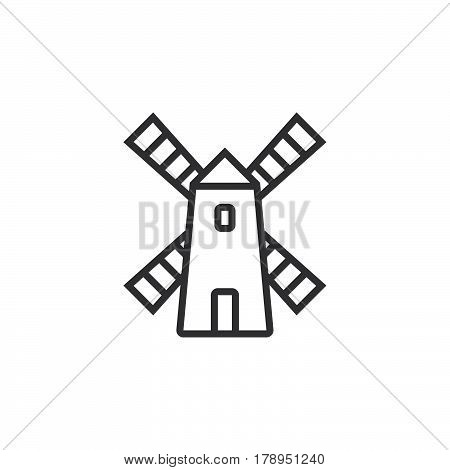 Windmill line icon outline vector sign linear pictogram isolated on white. logo illustration