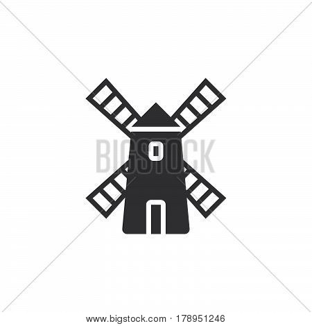 Windmill icon vector filled flat sign solid pictogram isolated on white logo illustration