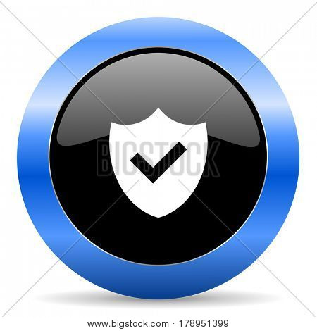 Shield black and blue web design round internet icon with shadow on white background.