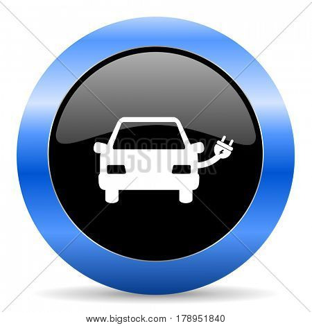 Electric car black and blue web design round internet icon with shadow on white background.
