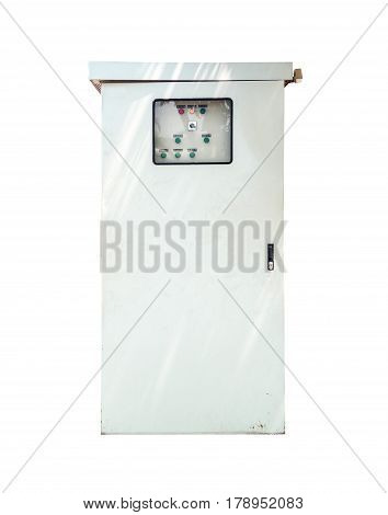 Gray Metal Electrical Power Control Cabinet Isolated