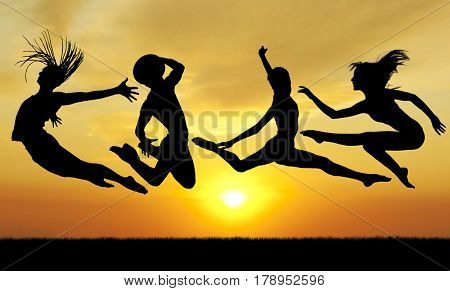 Silhouette jumping happiness people on sunset, collage