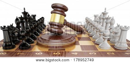 Gavel on chess board with figures. Law chess concept 3D rendering