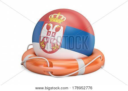 Lifebelt with Serbia flag safe help and protect concept. 3D rendering