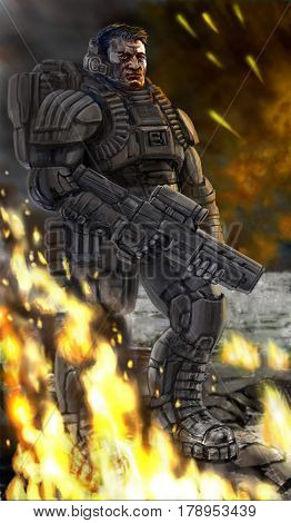 Soldier on the field of battle is lowering a weapon. Science fiction original character the soldier of the future. Freehand digital drawing illustration.