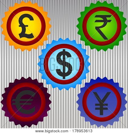 Currency symbol sign icon pound yen money dollar euro international.
