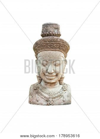 Ancient Cambodian Hinduism God Bust Statue, Isolated