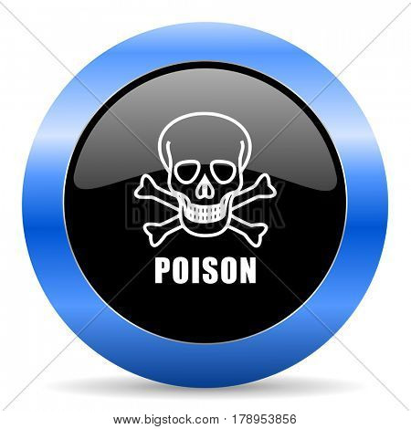 Poison skull black and blue web design round internet icon with shadow on white background.