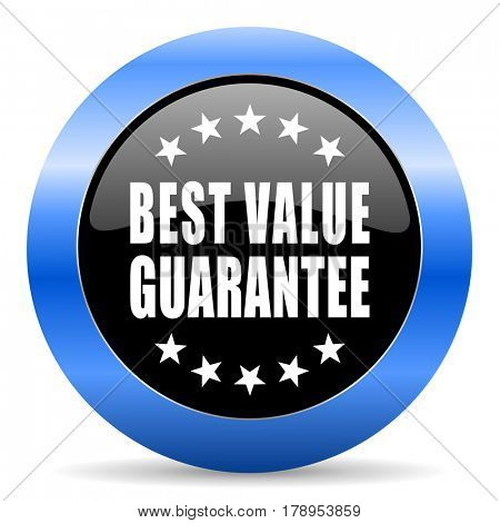 Best value guarantee black and blue web design round internet icon with shadow on white background.