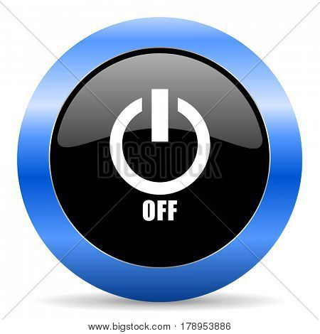 Power off black and blue web design round internet icon with shadow on white background.