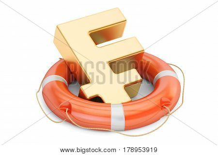Lifebuoy with golden franc symbol 3D rendering isolated on white background