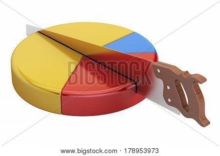 Pie chart with cutting saw. Financial risk concept 3D rendering