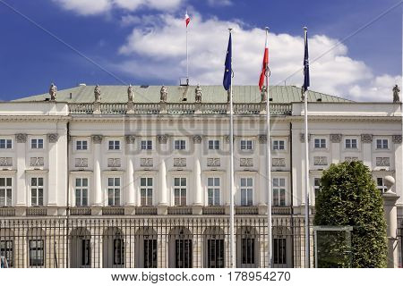 Classical palace in Warsaw - residence of the President of Poland.