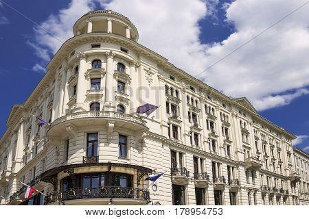 Sights Of Poland. Warsaw Old Town. Krakowskie Przedmiescie Street With Old Palace.