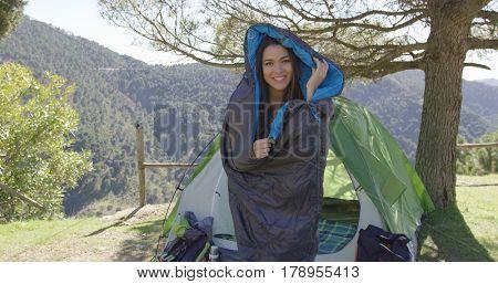 Funny female in sleeping bag