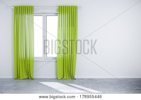 3d interior wall with window and curtain