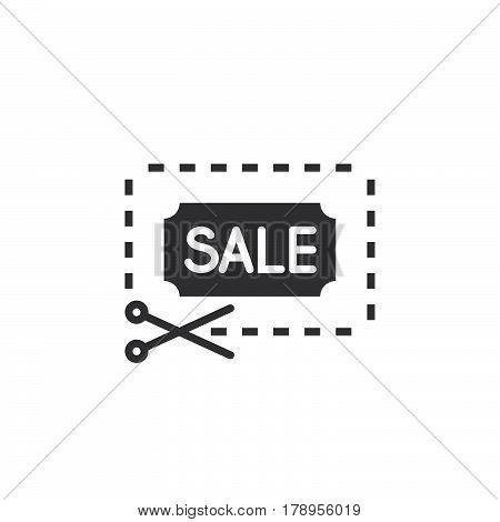 Sale coupon icon vector filled flat sign solid pictogram isolated on white logo illustration