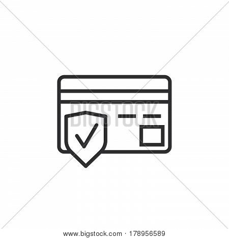 Secure payment symbol. Credit card and shield line icon outline vector sign linear pictogram isolated on white. logo illustration