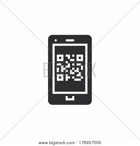 QR Code On Smartphone icon vector filled flat sign solid pictogram isolated on white logo illustration