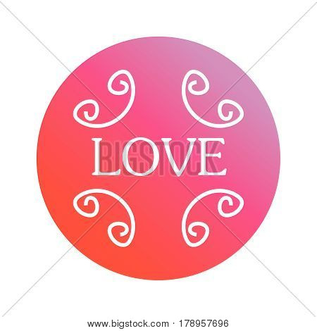 Icon with an inscription love on a pink and red background.inscription love on a pink and red background. Happy Valentines Day Card Design. 14 February.