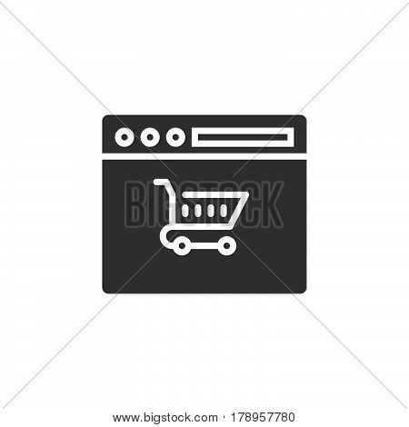 Online shopping symbol shopping cart in browser icon vector filled flat sign solid pictogram isolated on white logo illustration