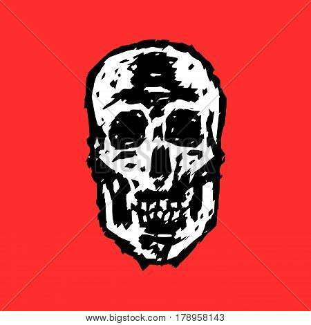 Scary grim skull. Horror character. Creepymask. Red background. Vector illustration