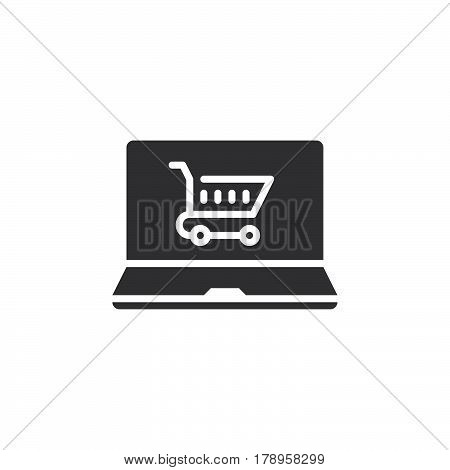 online shop laptop and shopping cart icon vector filled flat sign solid pictogram isolated on white logo illustration