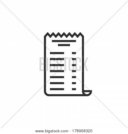 paper check receipt line icon outline vector sign linear pictogram isolated on white. logo illustration