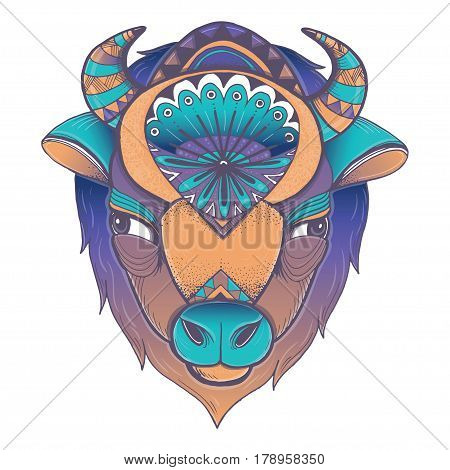 Vector illustration of buffalo head. Vector poster with bison in geometric style.