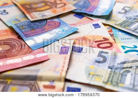 Euro money banknotes on the desk