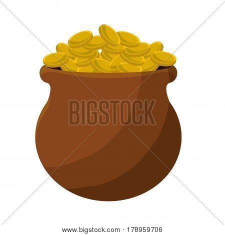 many coins inside of flowerpot, vector illustration design